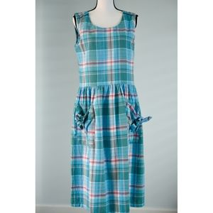 Vintage Summer Sleeveless Plaid Dress 100% cotton
